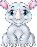 Cartoon baby rhino sitting isolated on white background Stock Photo