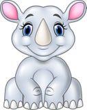 Cartoon baby rhino sitting isolated on white background Stock Photo