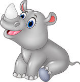 Cartoon baby rhino sitting isolated on white background Stock Photography