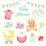 Cartoon baby shower. Concept on the yellow background Stock Photo