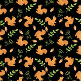 Cartoon Baby  squirrel animal flat seamless pattern. Cartoon Baby  animal flat seamless pattern Royalty Free Stock Images