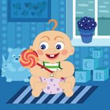 Cartoon baby with sugar candy in the room royalty free stock photography