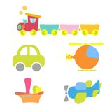 Cartoon baby transport, set, isolated on white Royalty Free Stock Images