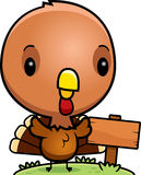 Cartoon Baby Turkey Wood Sign Stock Photo