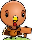 Cartoon Baby Turkey Wood Sign Stock Photo