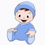 Cartoon Baby. Vector illustration of a sitting baby wearing blue onesie Stock Photos
