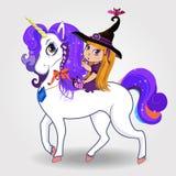 Cartoon baby witch girl riding beautiful magical unicorn on white background stock illustration