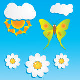 Cartoon background with butterfly Royalty Free Stock Images