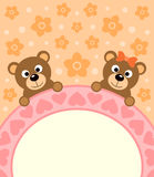 Cartoon background card with bears Stock Images
