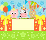 Cartoon background card with animals Royalty Free Stock Image