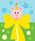 Cartoon background card with pig Royalty Free Stock Photography