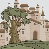 Cartoon background with castle with many towers royalty free illustration