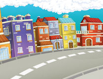 Cartoon background of a city - background for different usage Royalty Free Stock Photo