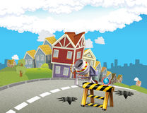 Cartoon background of a city - background for different usage Royalty Free Stock Image