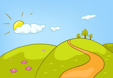 Cartoon background of countryside summer landscape. Hand drawn cartoon of countryside summer landscape. Colourful cartoon of summer background. Cartoon of Stock Photo