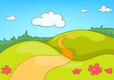 Cartoon background of countryside summer landscape. Hand drawn cartoon of countryside summer landscape. Colourful cartoon of summer background. Cartoon of Royalty Free Stock Photo