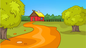 Cartoon background of countryside summer landscape. Hand drawn cartoon of countryside summer landscape. Colourful cartoon of sunny summer background. Cartoon of Royalty Free Stock Images