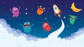 Cartoon background. Crazy monster children cartoon. Fun imaginary kids. Vector illustration Stock Photo