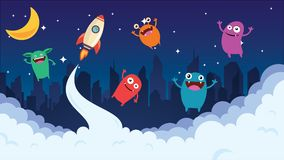 Cartoon background. Crazy monster children cartoon. Fun imaginary kids. Vector illustration. Update stock illustration