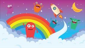 Cartoon background. Crazy monster children cartoon. Fun imaginary kids. Vector illustration Stock Photography