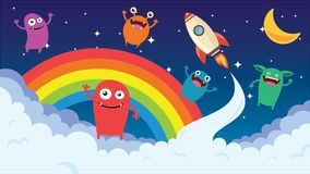 Cartoon background. Crazy monster children cartoon. Fun imaginary kids. Vector illustration Royalty Free Stock Images