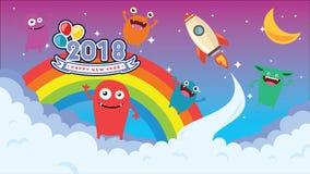 Happy New Year, Cartoon background. Crazy monster children cartoon. Fun imaginary kids. Vector illustration Royalty Free Stock Image