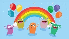 Cartoon background. Crazy monster children cartoon. Fun imaginary kids. Vector illustration Royalty Free Stock Photos