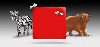 Zebra Bear Cartoon. Zebra and bear cartoon Frame. Cartoon background with cute animal and red card for text. Digital Illustration. Children Holiday pattern royalty free illustration