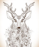 Cartoon background with deer and flowers. Hand drawn beautiful illustration Stock Images