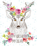 Cartoon background with deer and watercolor flowers. Hand drawn beautiful illustration Royalty Free Stock Images