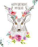 Cartoon background with deer and watercolor flowers. Hand drawn beautiful illustration Royalty Free Stock Photography