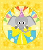 Cartoon  background  with elephant Stock Image