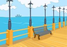 Cartoon background of embankment. Royalty Free Stock Photo