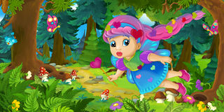 Cartoon background of fairy flying in the forest. Happy and funny traditional illustration for children - scene for different usage stock illustration