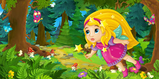 Cartoon background of fairy flying in the forest. Happy and funny traditional illustration for children - scene for different usage vector illustration