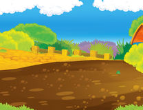Cartoon background of farm backyard with some wooden building Royalty Free Stock Photo