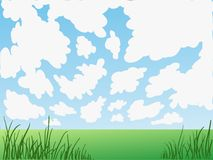 Cartoon background - field landscape - sky and clouds. Simple cartoon background - field landscape  - sky and clouds Stock Images
