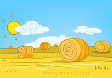 Cartoon background of field with straw bales. Royalty Free Stock Photos
