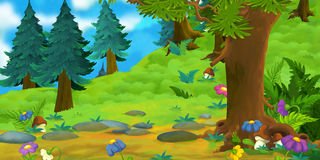 Cartoon background of a forest Royalty Free Stock Photo