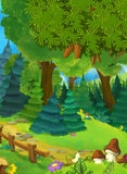 Cartoon background of a forest with nobody on stage - good for different fairy tales. Happy and colorful cartoon illustration for children royalty free illustration