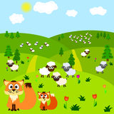 Cartoon background with fox and sheeps Royalty Free Stock Image