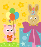 Cartoon background  with pig and rabbit Stock Images