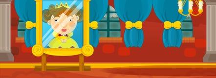 Cartoon background - medieval interior stock illustration