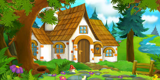 Cartoon background of an old house in the forest Royalty Free Stock Images