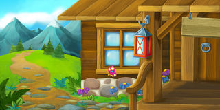 Cartoon background of an old house in the meadow Royalty Free Stock Image