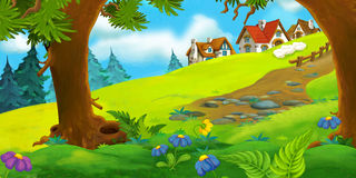 Cartoon background of old village Royalty Free Stock Image