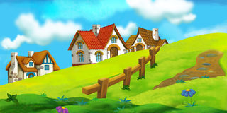 Cartoon background of old village Royalty Free Stock Photo