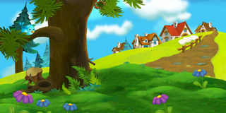 Cartoon background of old village Royalty Free Stock Images