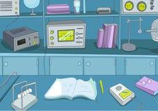 Cartoon background of physics laboratory. Royalty Free Stock Photo