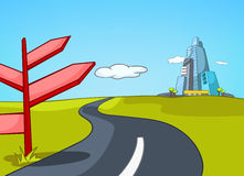 Cartoon background of road leading to city. Hand drawn cartoon of summer landscape. Colourful cartoon of summer background. Background of country road leading Stock Photography